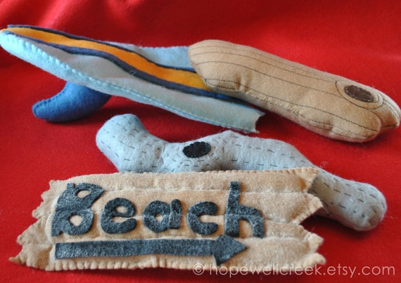 Felt Toy, Handmade Toy,Beach Sign, Surf Board,Driftwood,Imaginative Play