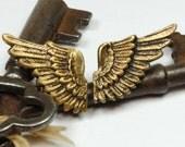 Steampunk Earrings Angel Wing Earrings SOLDERED Ant. Brass Bird Wings Fantasy Earrings Steampunk Jewelry by Victorian Curiosities