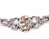 Steam Punk Necklace Steampunk Necklace Vintage Watch Necklace Silver Herringbone Wedding Steampunk Jewelry By Victorian Curiosities