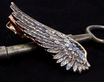 Mens Tie Bar Clip Angel Wing Jewelry Steampunk Airship Pirate Steam Punk Flight Steampunk Wedding Steampunk Jewelry Victorian Curiosities