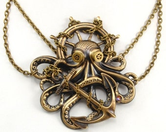 Steampunk Choker Necklace, Steampunk Jewelry, Octopus Necklace, Kraken Cthulhu Steampunk Goggles Steam Punk Jewelry By Victorian Curiosities