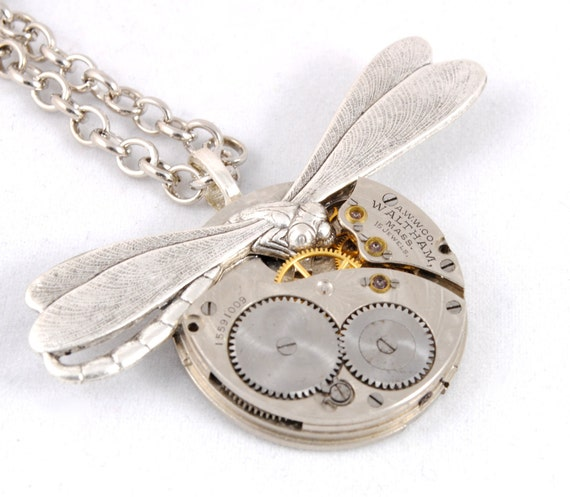 Steampunk Necklace Steam Punk Pocket Watch Necklace Antique 1907 Guilloche Waltham Dragonfly Steam Punk Jewelry By Victorian Curiosities