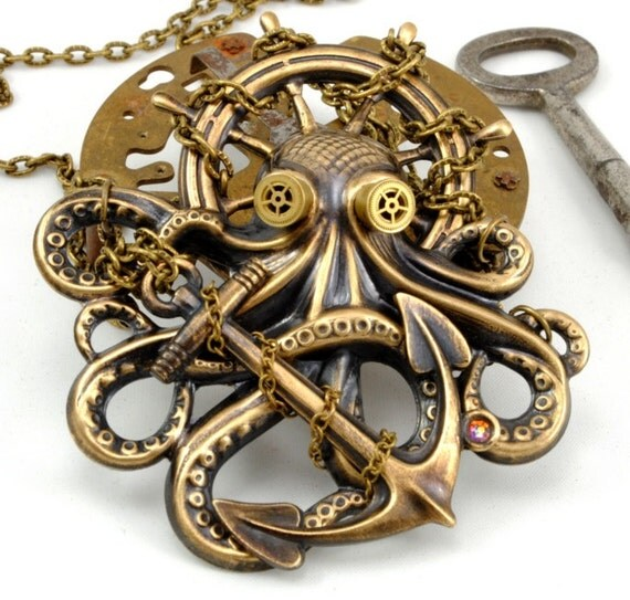 Steampunk Jewelry OCTOPUS Necklace Kraken Cthulhu Steampunk Goggles Steam Punk Pirate Necklace Steampunk Jewelry By Victorian Curiosities.