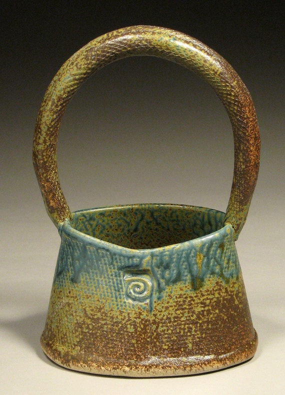 Small Blue Ceramic Basket by Cynthia Spencer