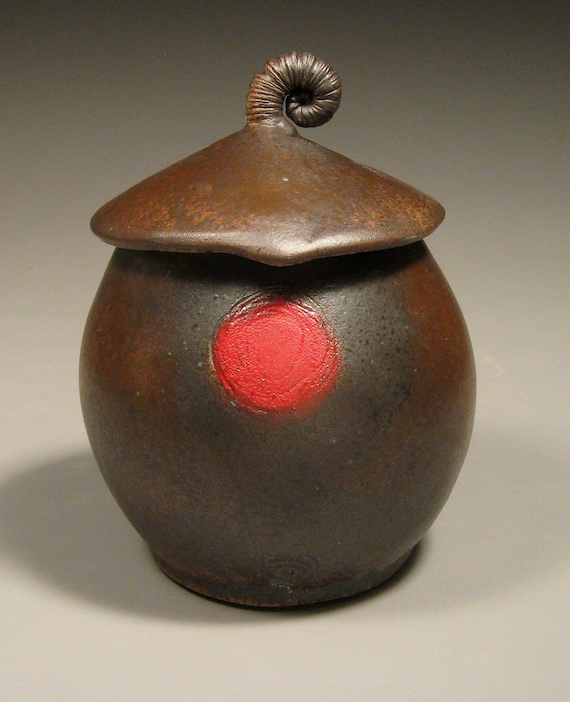 Red Dot Stoneware Lidded Canister