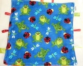 15 inch CUDDLE BLANKET. Frog Ultra Cuddly. Red Minky. Ribbon tags - AuntMsCreations