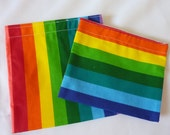 RE-USABLE BAGS- Set of 2- Rainbow Stripes - AuntMsCreations