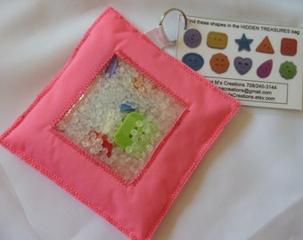 HIDDEN TREASURE bags. I Spy bags. SHAPES theme edition. Pink or Dark Blue