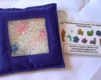 HIDDEN TREASURE bags. I Spy bags. SEA Creatures theme edition. Purple.
