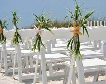 BEACH WEDDING CHAIR Caps-Beach Wedding Decoration-Beach Wedding Favor-Starfish Decoration-Sand Dollar Decoration-Annie Gray-Chair Decoration