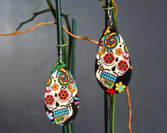 Sugar skull Day of the day earrings (dia de los muertos)