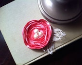 Pink Vintage Flower Hair Clip with Lace Leaves