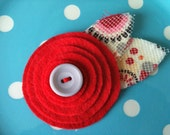 Red Felt Flower Clip with Gray Button