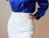 RESERVED. ...Vintage 90s / 80s White Leather Skirt