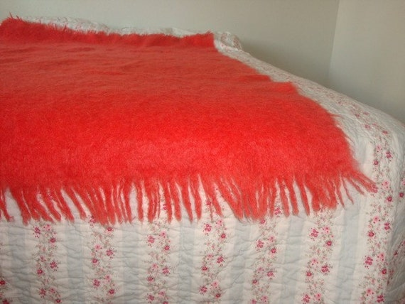 Cree Mills Ltd Great Britain Glen Cree Scotland mohair vintage throw blanket pink 1970