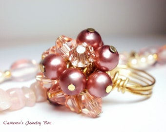Pink Pearl Crystal Ring, Cluster Ring, Wire Wrapped Ring, Dusty Rose, Pink Gold Ring, Pink Beaded Ring