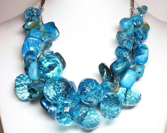 Blue Chunky Necklace, Statement Necklace, Large Bead Necklace, Blue Necklace, Blue Wedding Jewelry