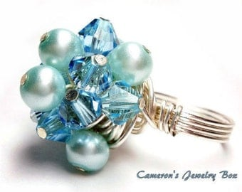 Pearl Cluster Ring, Blue Aquamarine, Swarovski Crystals, Blue Bead Ring, Blue Glass Ring, Wire Wrapped Ring