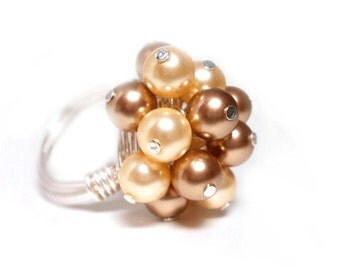 Silver Cluster Ring, Wire Wrapped, Swarovski Pearls, Ivory and Light Brown, Pearl Cluster Ring - Gift for Her
