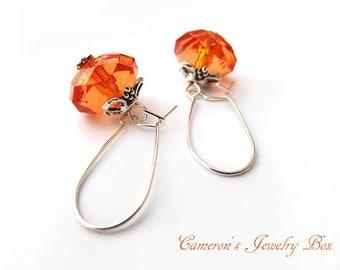 Tangerine Orange Earrings, Orange Dangle Earrings, Acrylic Beads, Flower Drop Earrings, Orange Jewelry, Fall Wedding