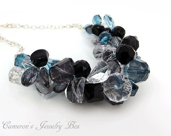 Black and Blue Chunky Statement Necklace, Beaded Wire Crochet Necklace, Crystal Acrylic, Colorful Necklace