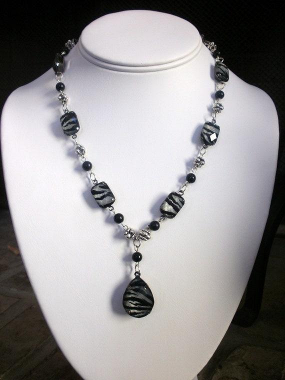 zebra necklace beaded black and silver zebra print necklace