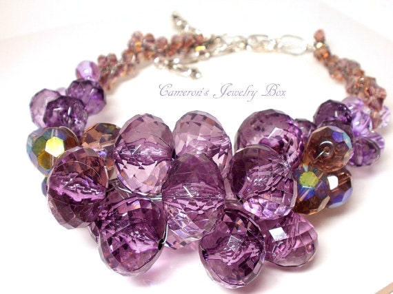 RESERVED for Katie: Purple Wire Crochet Necklace, Chunky Statement Necklace, Purple Amethyst, Swarovski Crystal, Wedding Bridal Jewelry