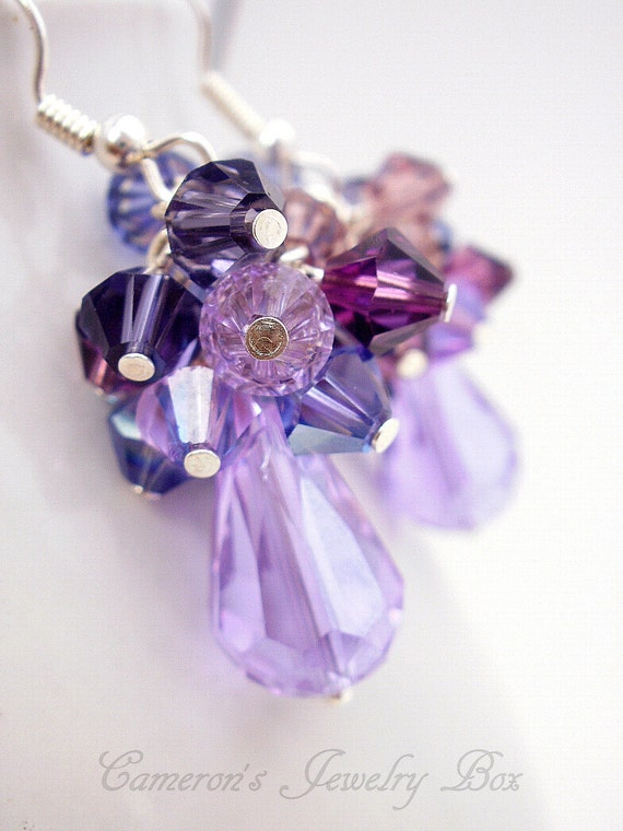Purple Earrings for Bridesmaids, Purple Amethyst, February Birthstone Jewelry, Swarovski Crystal, Dangle Cluster Earrings