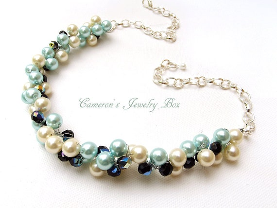 Wedding Pearl Necklace, Bib Necklace, Ivory, Black, Tiffany Blue, Crystal Pearl Necklace, Bridal Jewelry