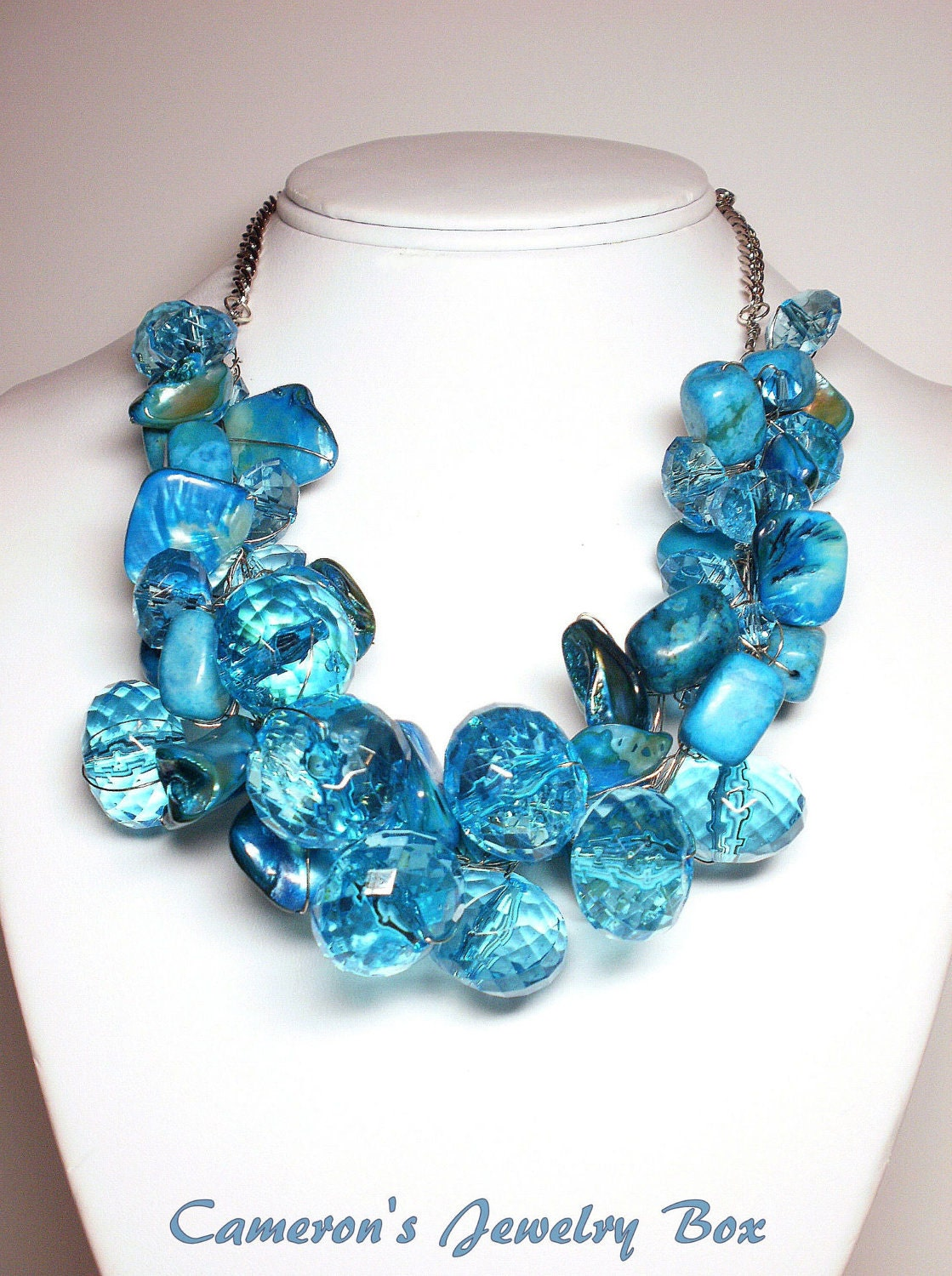 blue chunky necklace statement necklace large bead necklace