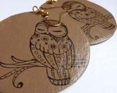 Chocolate & Vanilla Owls - Recycled Cardboard Earrings