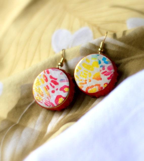 50% OFF SALE, Rainbow Leopard Print Bottle Cap Earrings