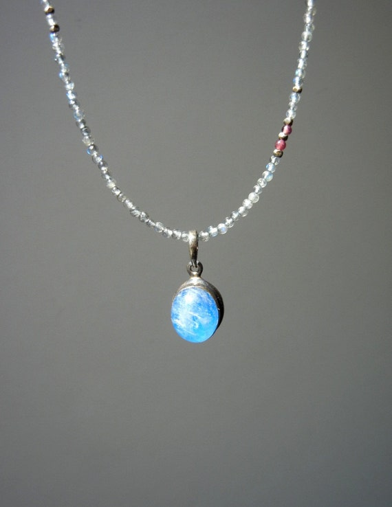 Delicate Labradorite Blue Moonstone Necklace