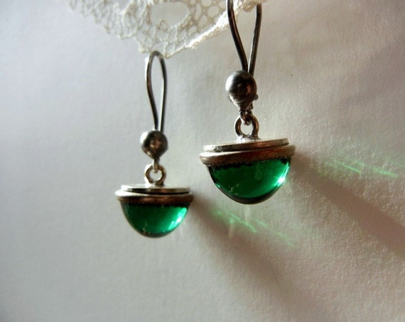 Pools of Green Light - Antique Glass Buttons / Sterling Silver Earrings