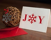 Holiday Joy Letterpressed Card with Snowflake Ornament