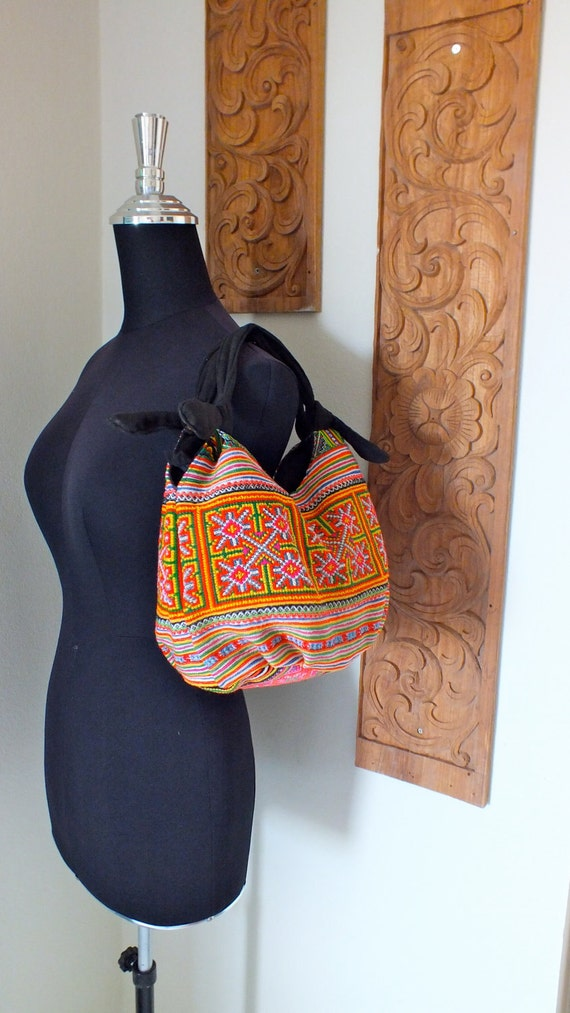 Hmong Ethnic handmade bag vintage cross stitch  work beautiful bohemian Tribal bags
