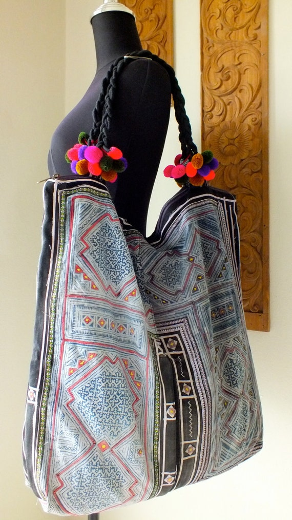 Hmong Ethnic handmade bag vintage fabric handbags and purses-from thailand