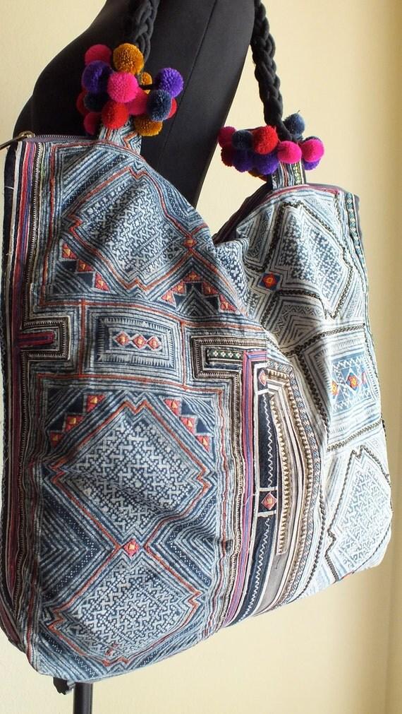 Hmong Ethnic handmade bag vintage fabric handbags bohemian tote  purses-from thailand