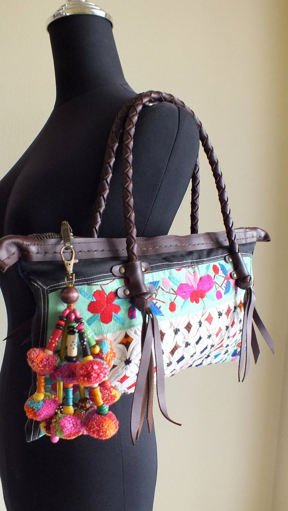 Vintage Hmong Ethnic handmade- purses ,tote,bohemian-Leather bags from-thailand
