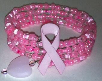Pink Beaded Breast Cancer Awareness Bracelet