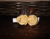 It Takes Two,  Rolled Yellow Flower Hair Clip W/ Feathers