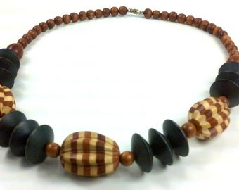 Tribal Safari Vintage Beaded Gypsy Necklace Wood Striped Mixed Beads