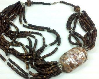 Earthy Gypsy Necklace Vintage 80s Beaded Tribal Necklace Bohemian Shells Strands