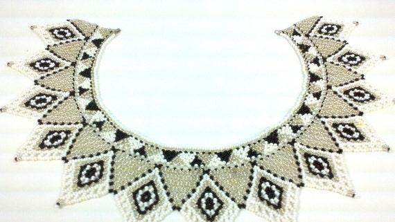 Peace Treaty Tribal Beaded Bib Collar Necklace White Black