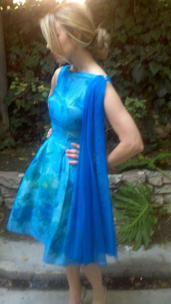 Betty Draper Vintage 50s 60s Dress Floral Blue Cocktail Frock