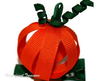 Pumpkin Ribbon Sculpture Hair Clip