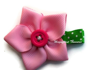 Five Petal Pink Ribbon Flower Hair Clip