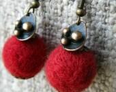 red wool felt bead earrings