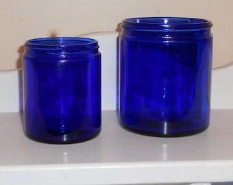 2 Vintage Cobalt Blue Glass Jars