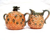 Vintage Lefton's Cream and Sugar Set Pineapple Design Made in Japan Foil Lable 1960's